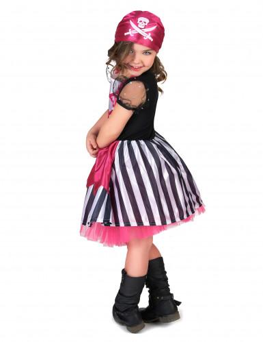 Roze doodskop piraten kostuum voor meisjes-2