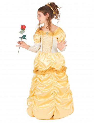Geel satijnachtig prinses kostuum voor meisjes-1