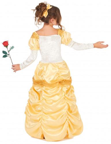 Geel satijnachtig prinses kostuum voor meisjes-2