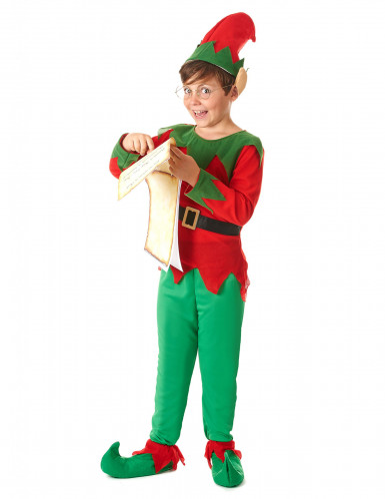 Groen en rood elfenkostuum voor kinderen -1