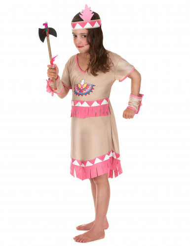 Beige en roze indianen kostuum voor meisjes-1