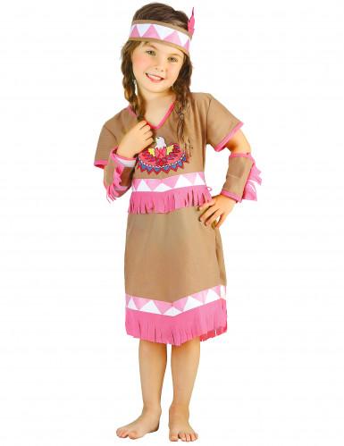 Beige en roze indianen kostuum voor meisjes-3