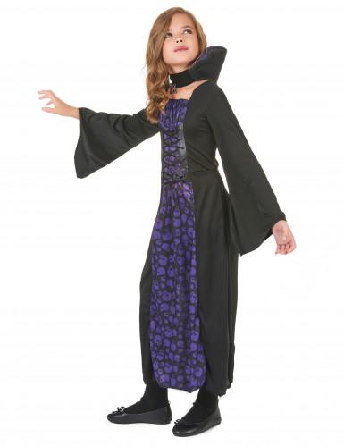 Paarse doodskoppen vampier outfit voor meisjes-1