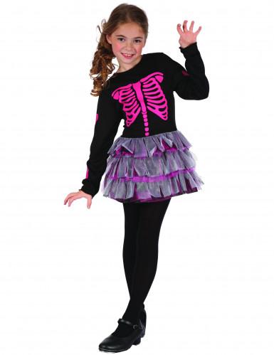 Roze skelet pak voor meisjes