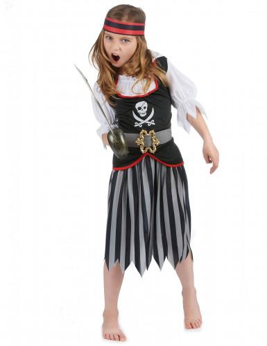 Zwart en grijs gestreept piratenkostuum voor meisjes