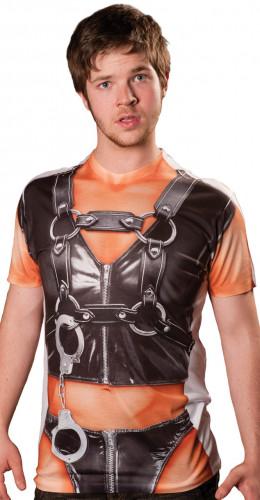 Fop-shirt leder outfit voor volwassenen