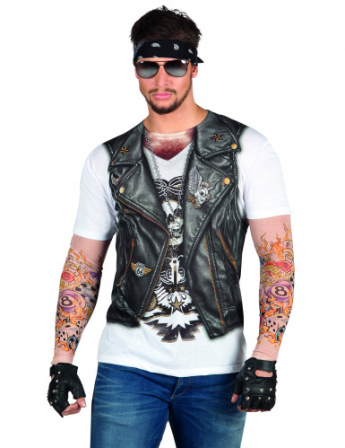Fop-shirt  biker jas met tatoo's voor volwassenen.