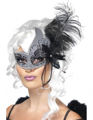 Zwart-wit Venetiaans masker voor volwassenen