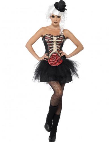 Verkleedkostuum skelet met open borst voor dames Halloween pak