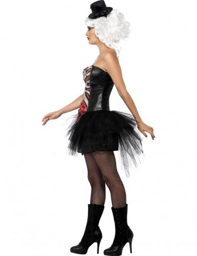 Verkleedkostuum skelet met open borst voor dames Halloween pak-1