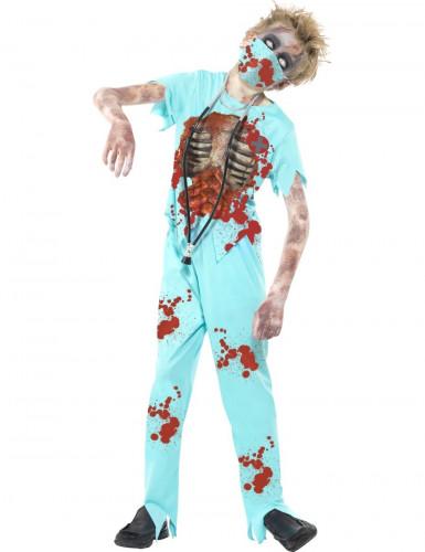 Zombie skelet dokter kostuum voor kinderen