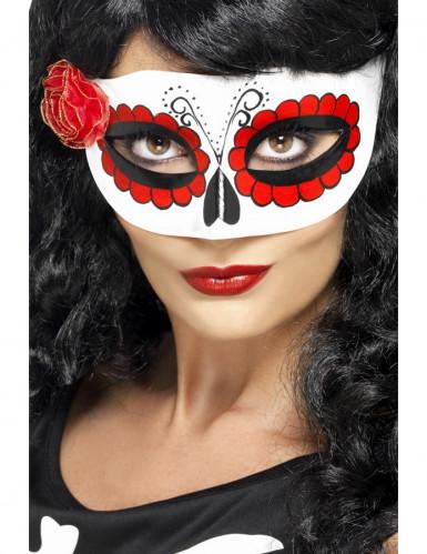 Gekleurd masker met klein roosje voor vrouwen