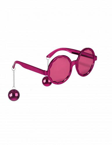 Roze disco bril met discoballen voor volwassenen