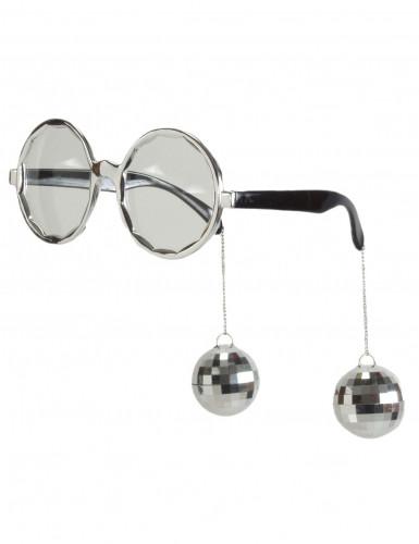 Zilveren disco bril voor volwassenen