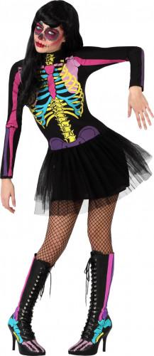Halloween outfit van kleurrijke skelet voor dames
