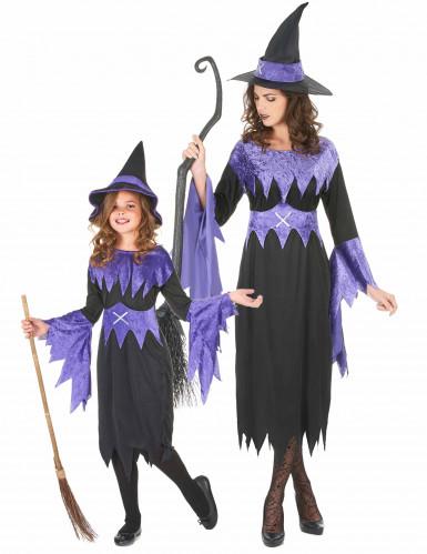 Koppel Halloweenheksenkostuum moeder-dochter in het paars