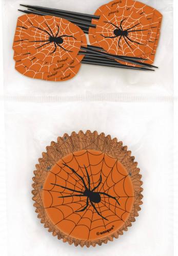 Halloween cupcake vormpjes en decoratie prikkers Spin