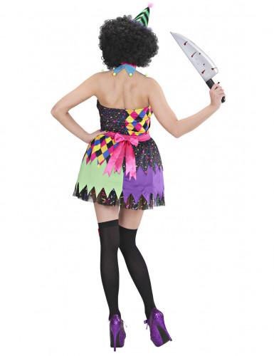 Verkleedkostuum duiverwekkende veelkleurige clown voor dames Halloween outfit-1