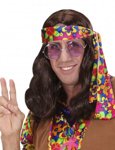 Bruine pruik hippie voor volwassenen