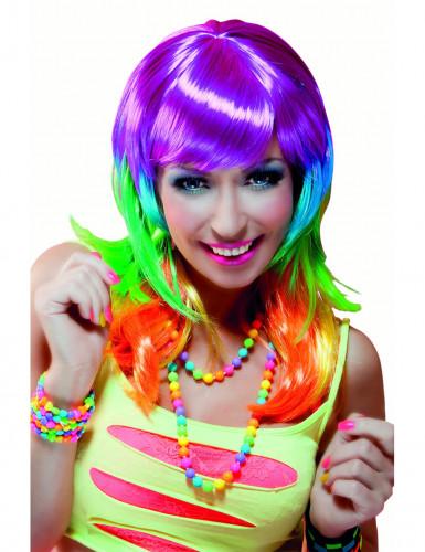 Lange regenboog pruik voor vrouwen