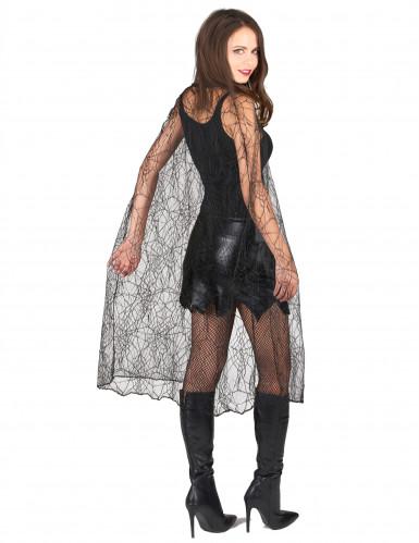 Zwarte Halloween cape met spinnenweb voor dames-1