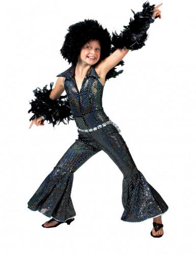 Zwarte disco kostuum voor meisjes