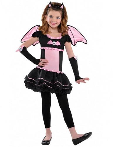 Verkleedkostuum roze vleermuis voor meisjes Halloween pak