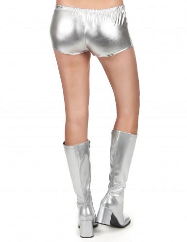 Zilverkleurig glimmend disco shorty voor vrouwen-2