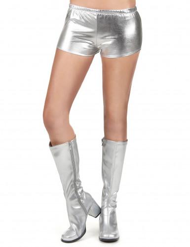 Zilverkleurig glimmend disco shorty voor vrouwen-1