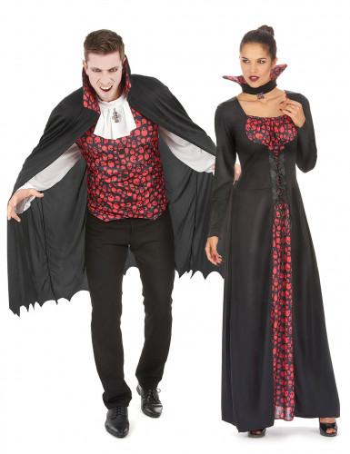 Verkleedkostuum vampier zwart en rood voor koppel Halloween outfit