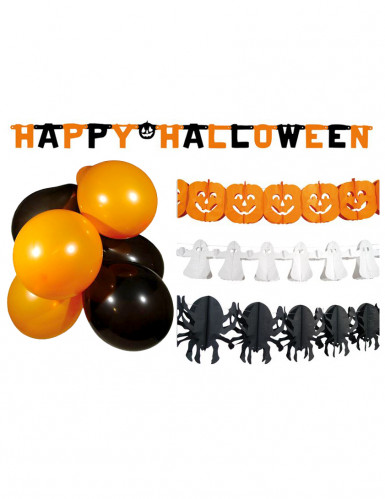 Set Halloween party (3 slingers, letterslinger en 10 ballonnen)