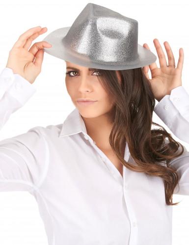 Zilverkleurige glitter hoed voor volwassenen-1