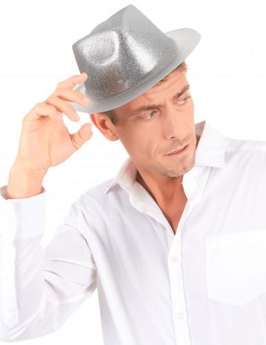 Zilverkleurige glitter hoed voor volwassenen-2