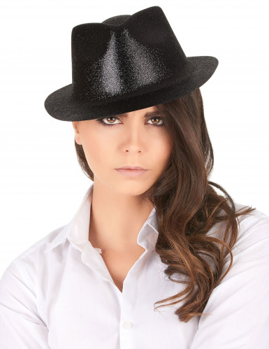 Zwart hoed met glitters voor volwassenen-1
