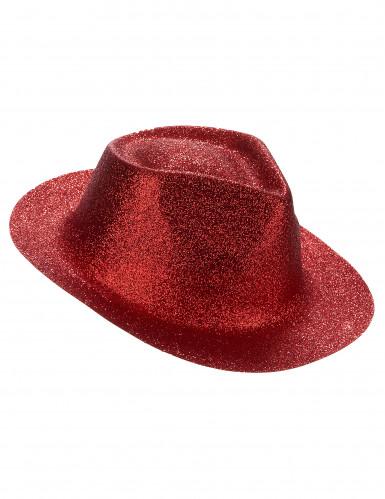 Rood glitter hoed voor volwassenen