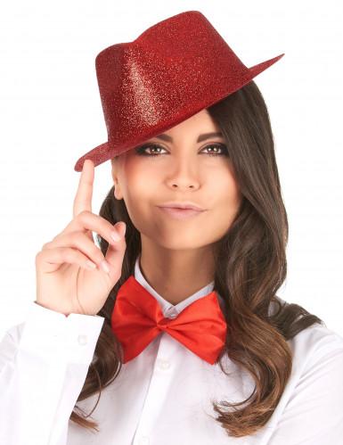 Rood glitter hoed voor volwassenen -1