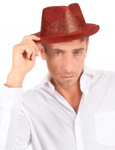Rood glitter hoed voor volwassenen -2