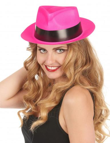 Fluo roze gangster hoed voor volwassenen-1