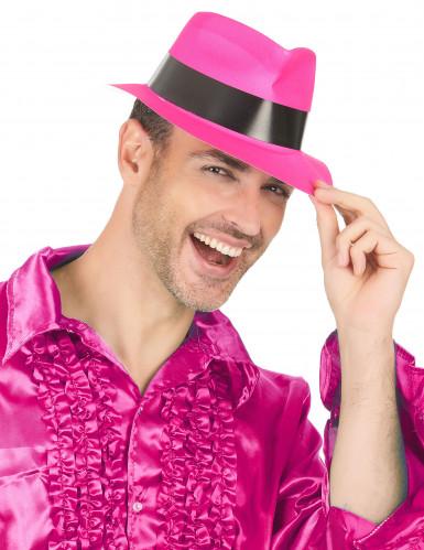 Fluo roze gangster hoed voor volwassenen-2