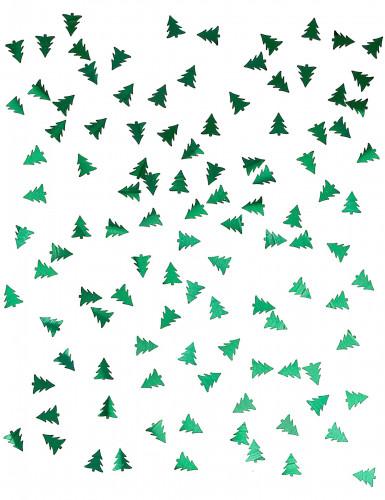 Tafelconfetti metallic groene kerstbomen-1