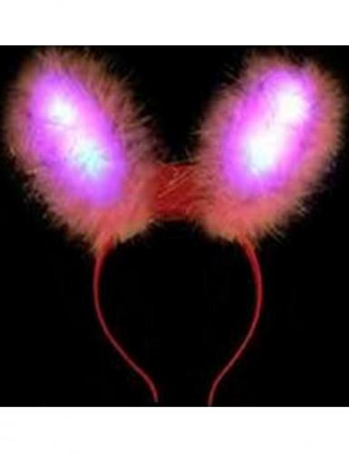 Roze LED konijn oren voor volwassenen