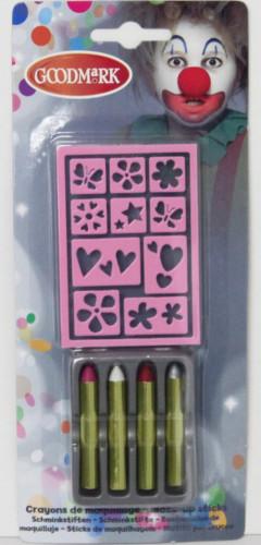 Set van 5 schmink potloden en sjablonen
