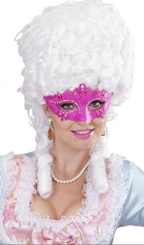 Roze Venetiaans strass masker voor volwassenen