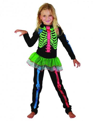 Gekleurde skeletten outfit voor meisjes