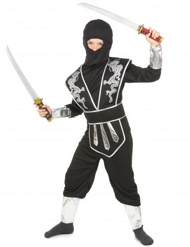 Zilverkleurige draak ninja pak voor jongens-1