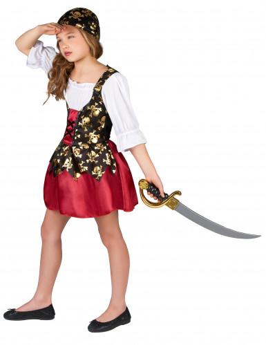 Goudkleurige schedels piraten kostuum voor meisjes-1