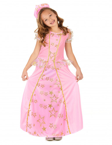 Roze en goudkleurige sterren prinses outfit voor meisjes-1