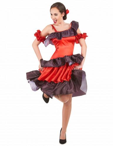 Rode flamenco danseres kostuum voor vrouwen