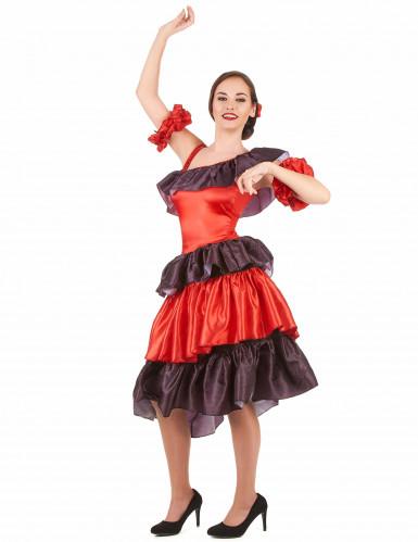 Rode flamenco danseres kostuum voor vrouwen-1
