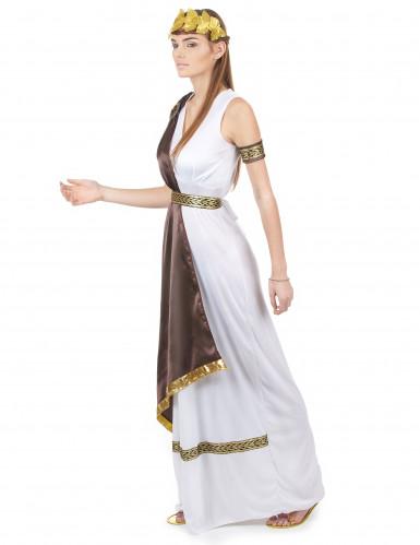 Wit en bruin Romeins kostuum voor dames-1